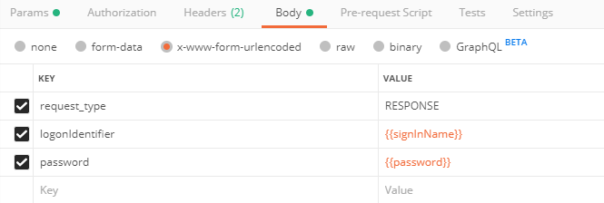 Postman screenshot of form body, request_type, loginIdentifier, and password