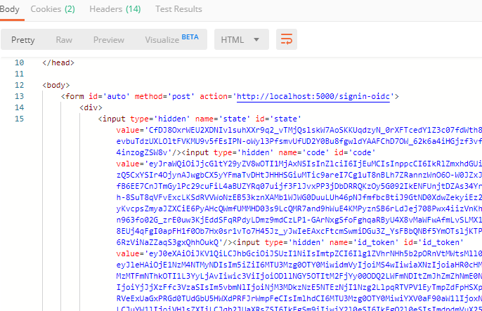 Postman screenshot of code and id_token response